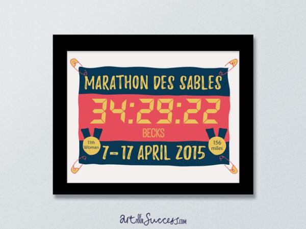 Marathon des Sables finish time print